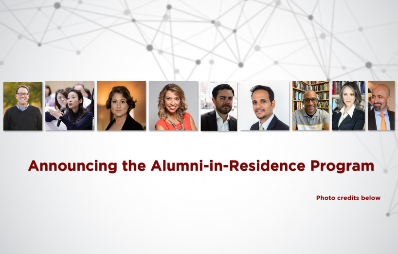 photos of alumni in residence participants over top of a network graphic