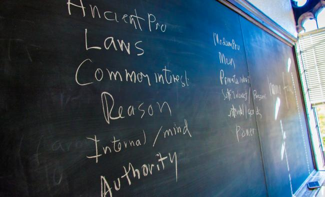 chalk writing on classroom blackboard