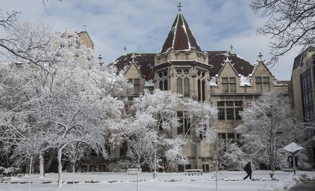 social sciences quadrangle in winter